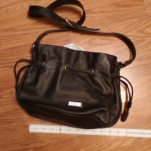 Cole haan black leather draw string shoulder purse